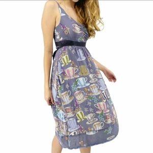 Anthropologie Floreat Purple Tea Cup Silk Dress 0